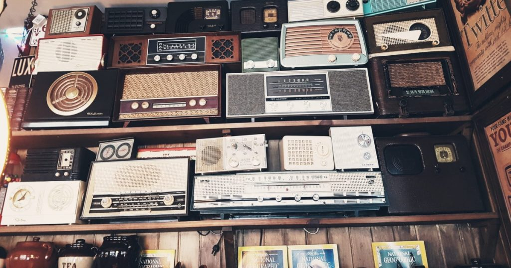 Wall filled with old radios