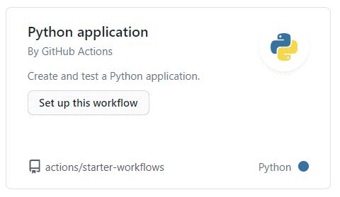 Github actions python application