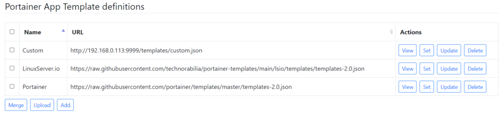 Portainer App Template definitions