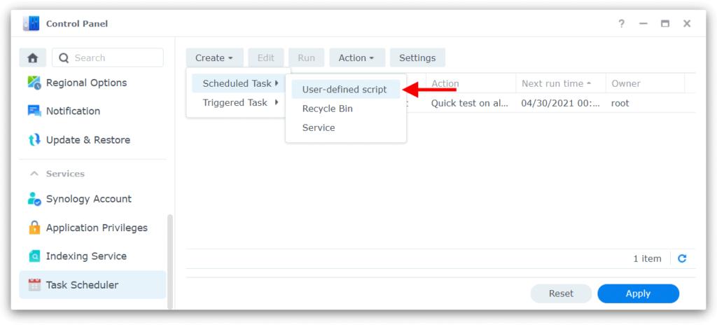 Synology task scheduler create task