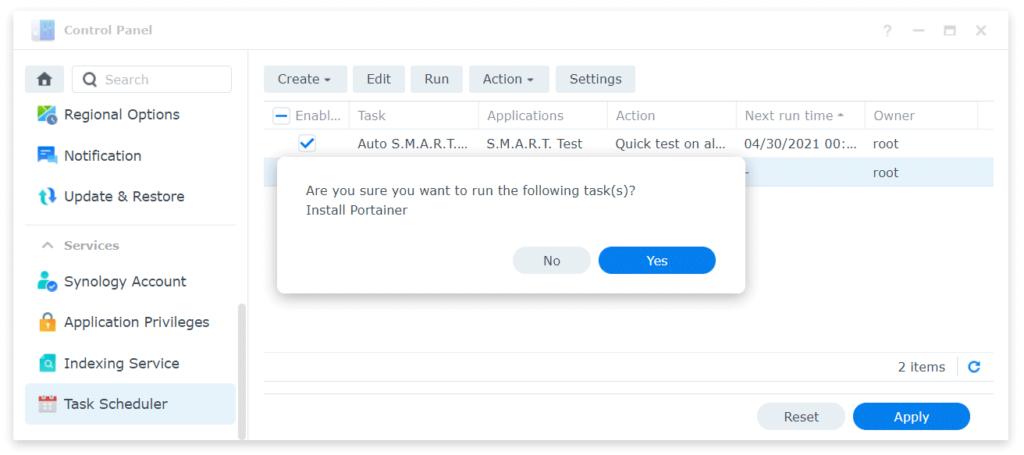 Synology task scheduler run task message
